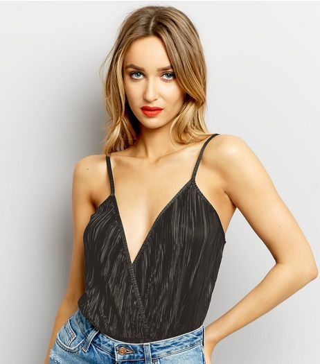 Black Pleated V Neck Wrap Front Bodysuit  | New Look