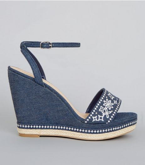 Blue Denim Floral Embroidered Wedge Heels | New Look