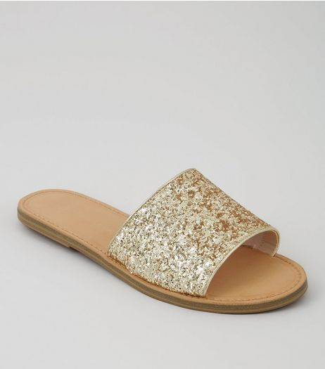 Wide Fit Gold Glitter Mules | New Look