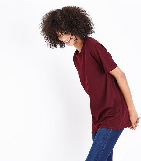 Tall Burgundy Oversized T-Shirt | New Look