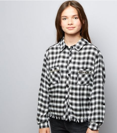 Teens Black Check Fray Hem Shirt | New Look