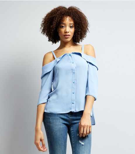 Pale Blue Cold Shoulder 3/4 Sleeve Top  | New Look