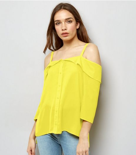 Yellow Cold Shoulder Blouse  | New Look