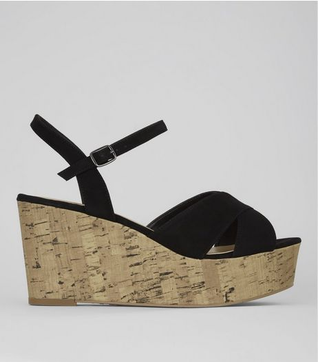 Wide Fit Black Cork Wedge Flatform Heels | New Look