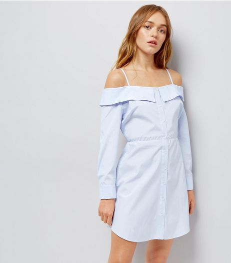 Blue Stripe Cold Shoulder Shirt Dress  | New Look
