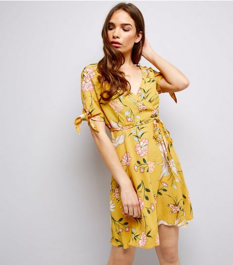 Yellow Floral Print Tie Sleeve Wrap Front Skater Dress | New Look