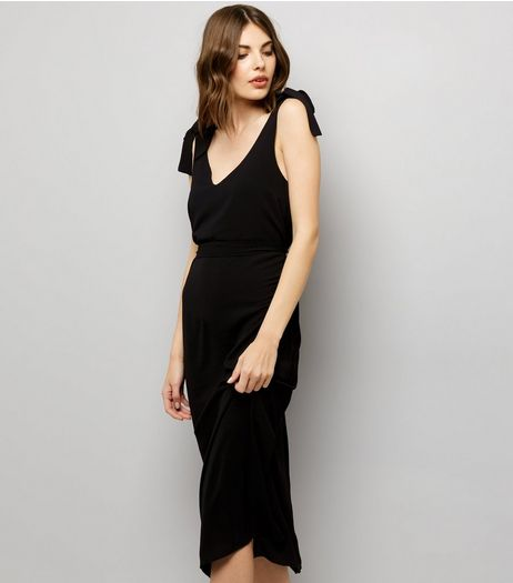 Black Tie Strap Midi Slip Dress  | New Look