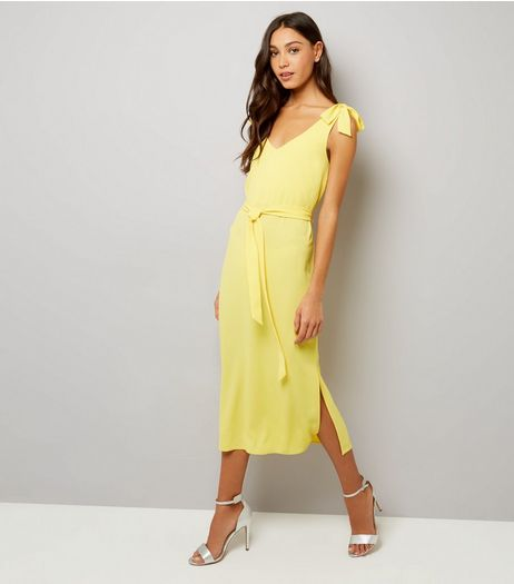 Yellow Tie Strap Midi Slip Dress  | New Look