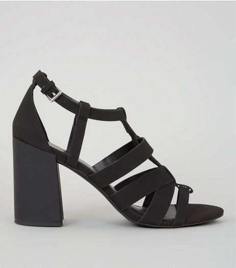 Black Gladiator Heeled Sandals | New Look