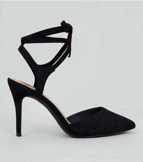 Black Comfort Suedette Lace Up Heels | New Look