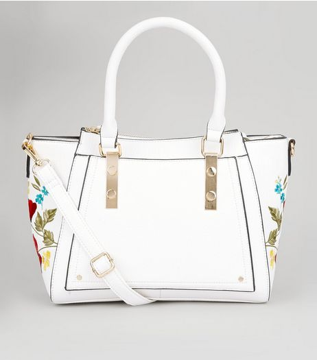 White Floral Embroidered Trim Bowler Bag  | New Look