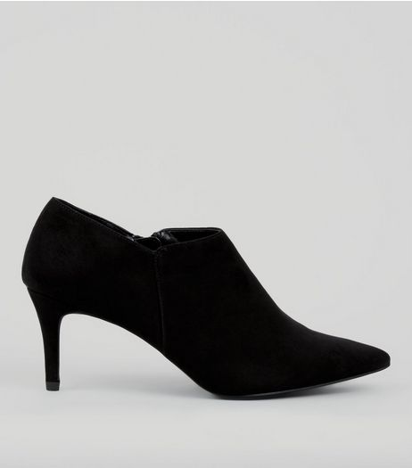 Black Suedette Pointed Heeled Shoe Boots | New Look
