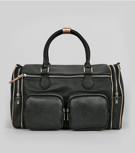 Black Double Pocket Front Bowler Bag | New Look