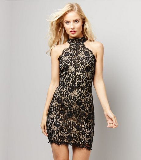 Black Lace Funnel Neck Bodycon Dress  | New Look