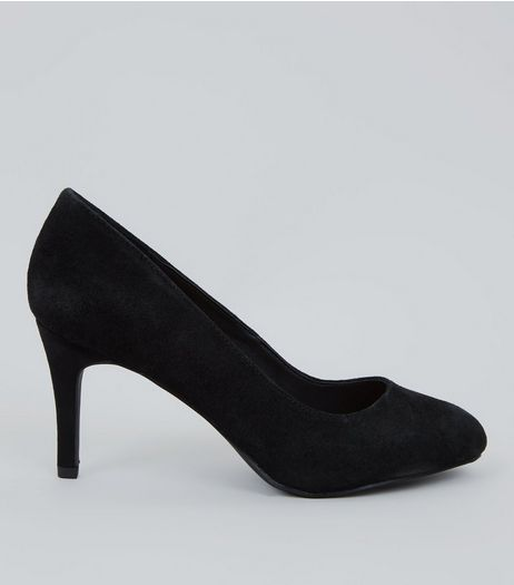 Black Comfort Suede Court Heels  | New Look