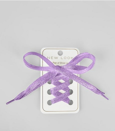 Purple Metallic Shoe Laces | New Look