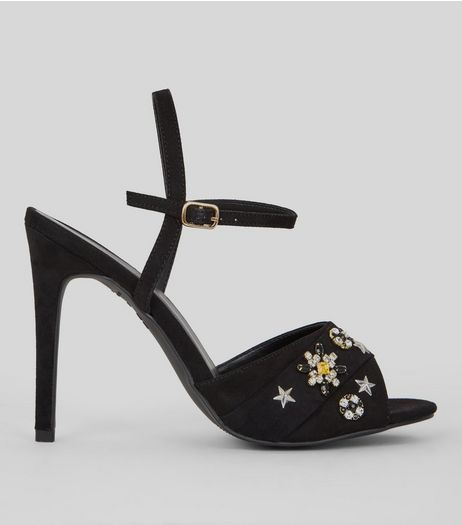 Black Embellished Detail Heeled Sandals | New Look