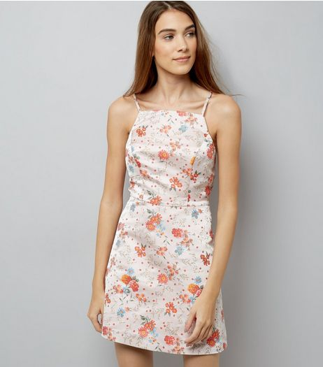 Shell Pink Floral Jacquard Prom Dress | New Look