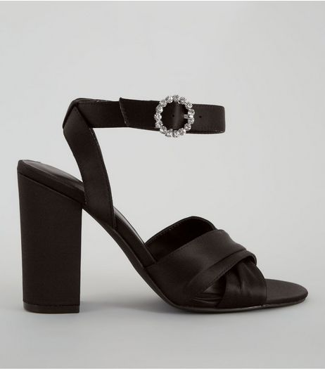 Black Satin Chunky Cross Strap Block Heels | New Look