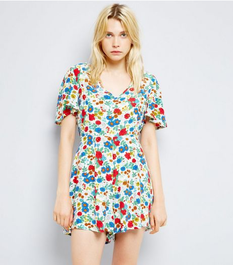 White Ditsy Floral Print Playsuit | New Look