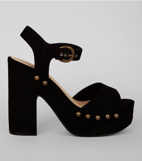 Black Suedette Stud Detail Clog Heels | New Look