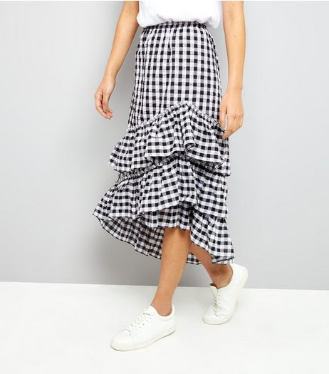 Black Gingham Frill Trim Midi Skirt | New Look