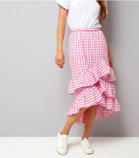 Pink Gingham Frill Trim Midi Skirt  | New Look