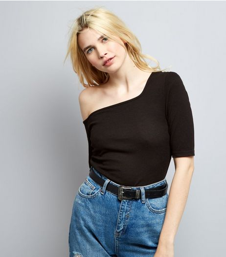 Black Off the Shoulder Ribbed Top  | New Look
