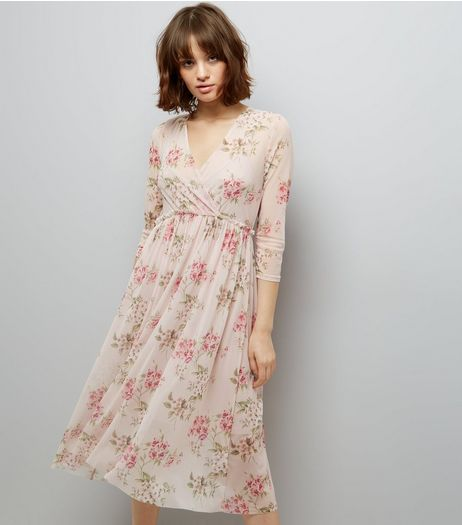 Pink Floral Print Mesh Wrap Front Midi Dress  | New Look