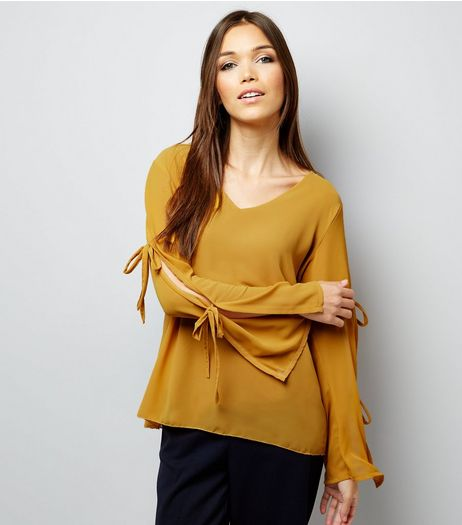 Loving This Yellow Tie Sleeve Top  | New Look