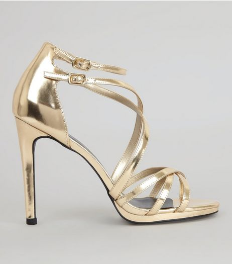 Gold Multi Strap Cross Front Heeled Sandals | New Look