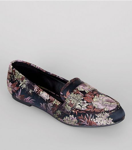 Wide Fit Black Floral Brocade Loafers | New Look