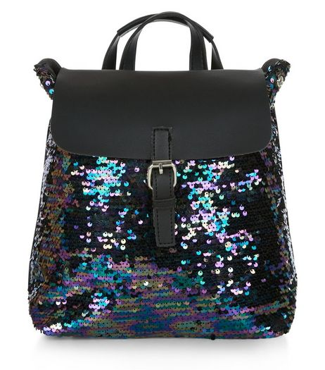 Black Sequin Backpack  | New Look