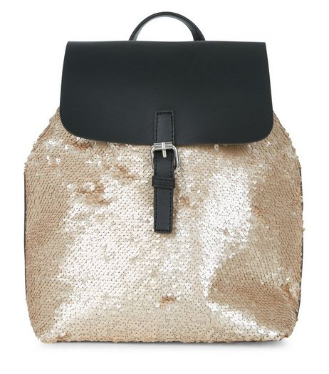 Gold Sequin Backpack  | New Look