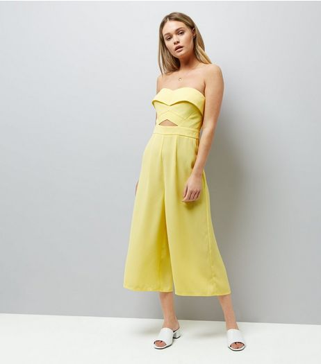 Yellow Cut Out Front Culotte Jumpsuit | New Look