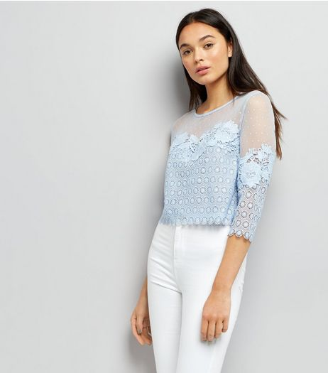 Pale Blue Spot Mesh Lace Panel Top | New Look