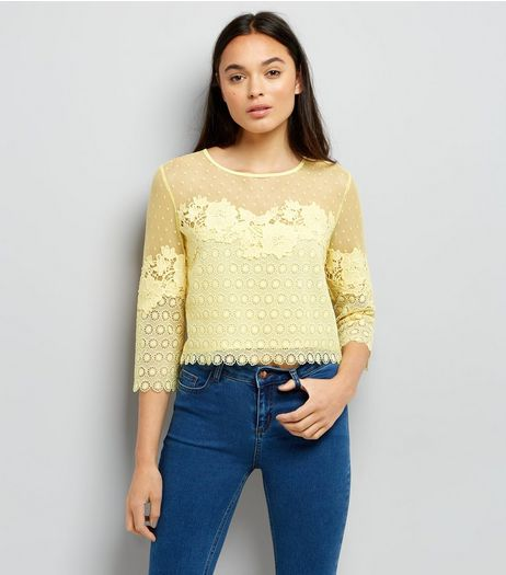 Yellow Spot Mesh Lace Panel Top | New Look