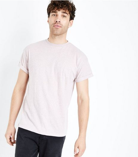 Pink Marl Rolled Sleeve T-Shirt | New Look