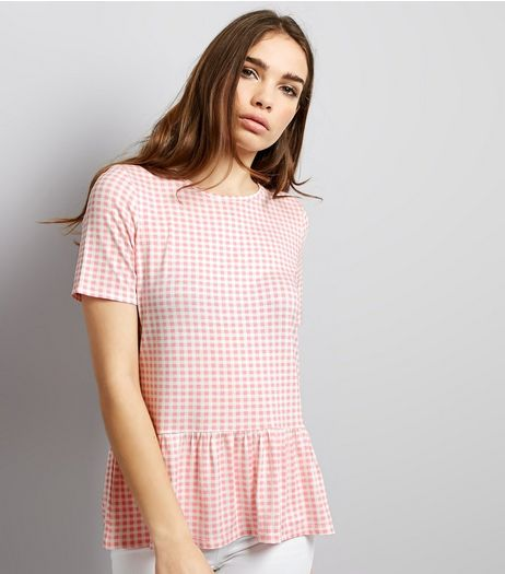 Pink Gingham Peplum Hem Top | New Look