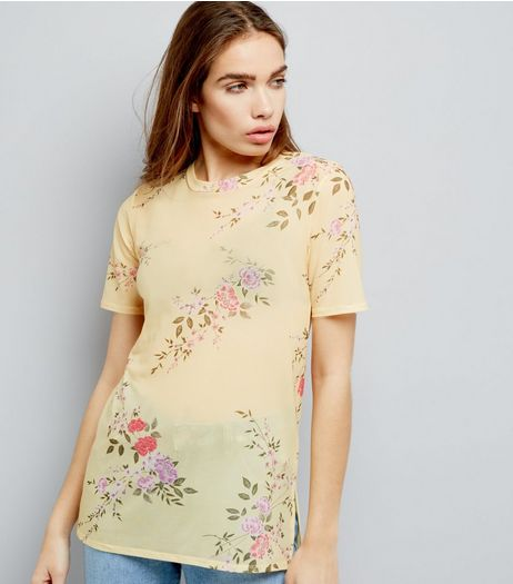 Yellow Mesh Floral Print Boyfriend T-Shirt  | New Look