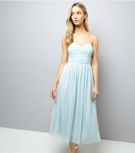 Pale Blue Premium Mesh Bandeau Dress  | New Look