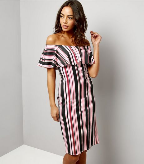 Black Stripe Bardot Midi Dress | New Look