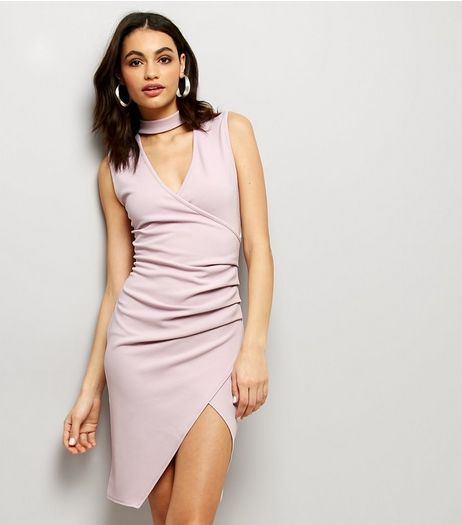 Pink Choker Neck Bodycon Dress | New Look