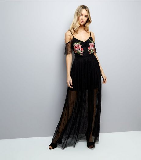 Black Floral Embroidered Mesh Maxi Dress | New Look