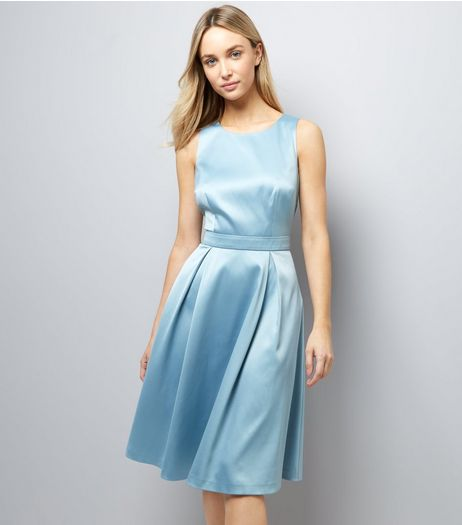 Bright Blue Sateen Midi Prom Dress | New Look