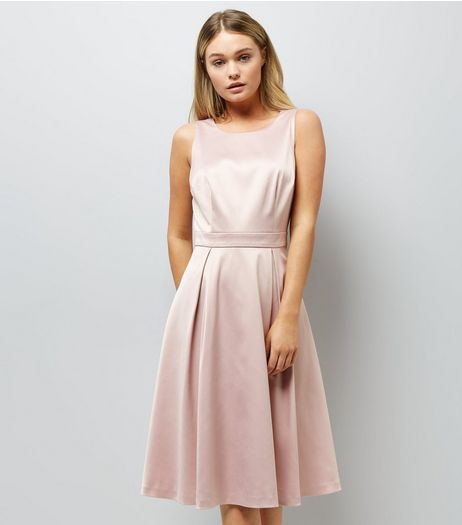 Pink Sateen Midi Prom Dress | New Look