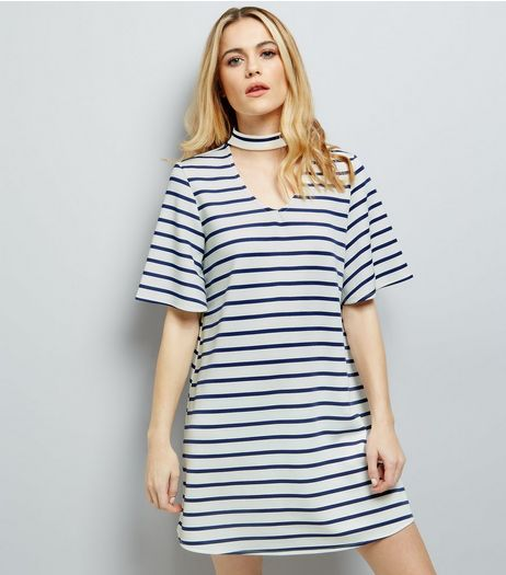 White Stripe Choker Neck Dress | New Look