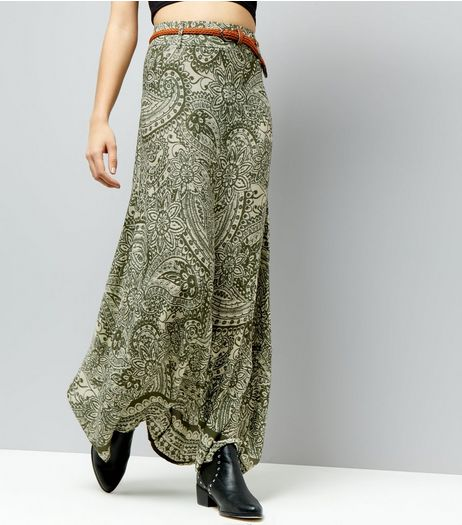 Apricot Olive Green Paisley Print Belted Maxi Skirt | New Look