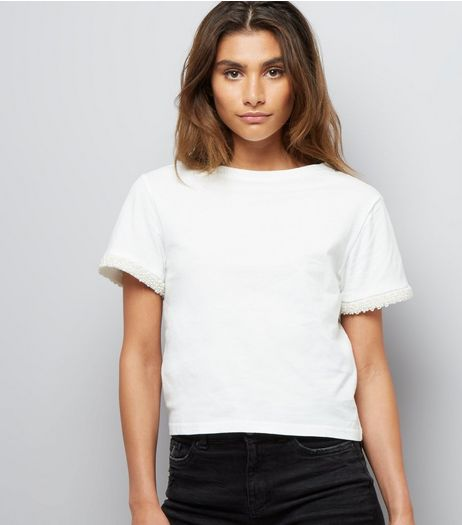 Cream Pearl Trim T-Shirt  | New Look