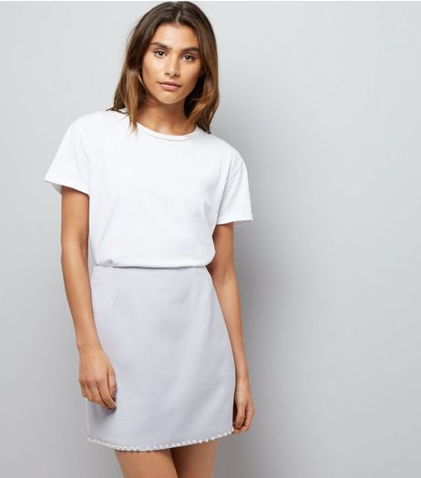 Light Purple Pearl Hem Skirt  | New Look